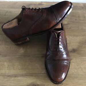 Loake Brogue Lace Up Brown Formal Casual Shoes Size UK 8.5G Men's Leather Shoes