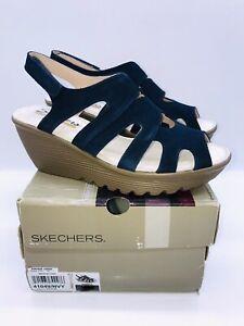 Skechers Women Parallel Stylin Suede Peep-toe Slingback Wedge Sandals Navy