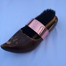 """Vtg Wooden Dutch Clog Shoe Wall Sconce Shoe Brush Holder Copper Detail 8 1/2"""""""