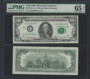 US Federal Reserve Note    $100    San Francisco District     1969    PMG65 EPQ