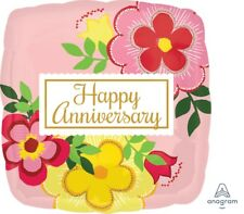 "Lot of 5 Flowery Happy Anniversary 18"" Foil Balloon Pink Floral Square"