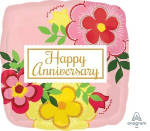 """Lot of 5 Flowery Happy Anniversary 18"""" Foil Balloon Pink Floral Square"""