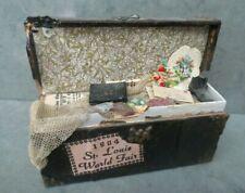 vintage 1973 miniature dollhouse artisan metal hope chest trunk filled 1:12