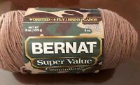 Bernat Super Value Yarn Acrylic, Worsted, 4 ply 8 oz Skein Color Peat Moss