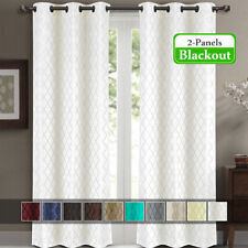 "2 Panels 42x120"" Willow Jacquard Thermal Insulated Blackout Drapes & Curtains"