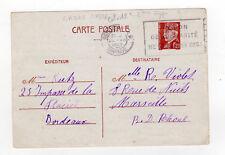 France entier postal sur carte postale tampon Bordeaux 1942 flamme UN BON  /L860