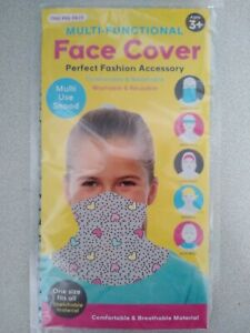 Kids FACE COVER / MULTI USE SNOOD / BANDANA / HEART PRINT - NEW IN PACK