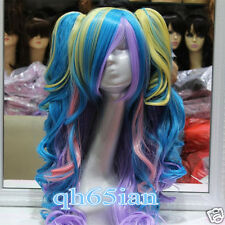 Fashion fancy dress party multi-coloured Curly Cosplay Wigs + ponytail +wig cap