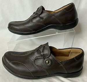 CLARKS Unstructured Womens Cushion Brown Leather Loafer Shoes Sz 6.5M #60901