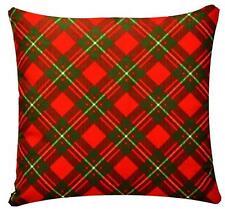rojo y verde estampado a cuadros 43.2x43.2cm chenilla funda de cojín de algodón