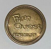 "Vintage Nevada Casino Coin - Reno Hilton Fun Quest ""No Cash Value"" Arcade Token"