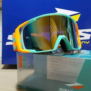 Maschera Occhiali Motocross Moto Cross Mx Enduro Verde Arancio Fluo Iridium