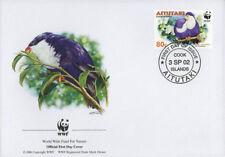 WWF  UCCELLI  FDC ISOLE AITUTAKI BUSTA PRIMO GIORNO 2002 PAPPAGALLI  3/4