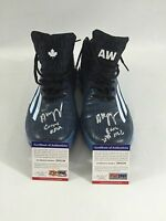 TIMBERWOLVES ANDREW WIGGINS GAME USED WORN SIGNED AUTO SHOES ROOKIE SEASON PSA