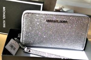 Michael Kors Silver Glitter Wallet / Phone Case
