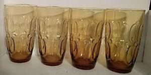 "Set Of 4 Vintage Fostoria Glass Amber Embossed Drinking Glasses Moonstone 5.5"" t"
