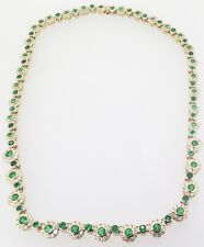 .A 5.55ct Natural Emerald & 9.60ct G Si Diamond Set 18ct Gold Necklet Val $32600
