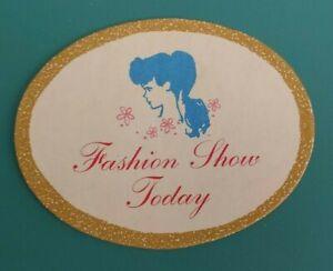 Fashion Show Today Sign Gold BARBIE Ken Clothes Skipper 1950s Vintage Old Mattel