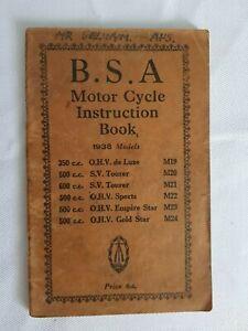 BSA Motor Cycle Instruction Book 1938 Models. M19,M20,M21,M22,M23,M24.