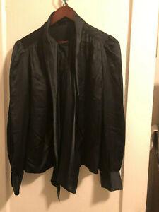 Black Silk  ? Long Sleeve Button Down Tie Neck Blouse Women's Sz Large ?