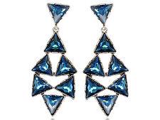 Dangle Earrings Drops gift new Hot Blue Crystal Rhines Embellished Triangle