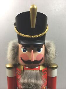 SEIFFENER VOLKSKUNST ERZGEBIRGE: Nutcracker Hussar Red Sword German Wooden