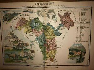 1880 Nyitra vármegye Nitrianska MAP illustrated RARE EDITION Hungary Slovakia