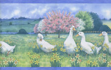 Country Geese In Field Of Daffodils Blue Trim Wallpaper Border-30Ft
