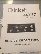 McIntosh MR-77 FM Tuner Service Manual service information RARE
