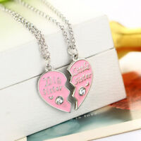 Heart Shape Necklace Sisters Pendant Friends Lover Chain Crystal Gift Ornament