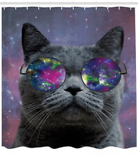 Cat Decorations Galaxy Scottish Fold with Hipster Glasses Art Fun Shower Curtain