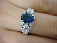 14K WHITE GOLD 1.50 CARAT OVAL SAPPHIRE AND FILIGREE DIAMONDS LADIES RING
