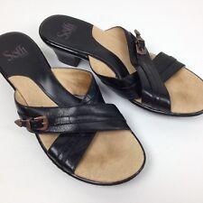 Women's SOFFT Black Leather Slip On Block Heel Strappy Slides Sandals Size 8.5M