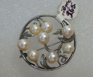 """VINTAGE SILVER BROOCH W, MIKIMOTO NATURAL  PEARLS 2"""" ROUND BROOCH"""