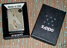 ZIPPO Lighter 28180 Footprints in the Sand Brushed Chrome NEW in box Free Ship