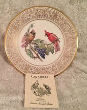 "LENOX 1976.""CARDINALS""  BOEHM COLLECTOR PLATE ORIG SHIP BOX, ORIG BOX, CERTIF."