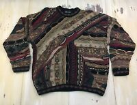 TUNDRA: Vtg 90s Textured Brown Cotton Dad Hip Hop Biggie Cosby Sweater, Mens XL