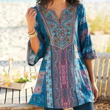Soft Surroundings Zuzi Tunic Embroidered Blouse Top Shirt Size Large