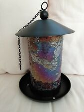 New listing New Bird Feeder Mosaic Stain Stained Multi Colors Crackle Glass Birdfeeder