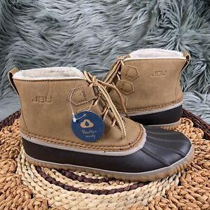 JBU By Jambu Nala Sz 8.5 Brown Tan Leather Lace Up Lines Waterproof Duck Boots