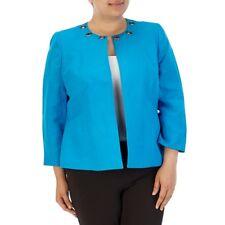 Kasper Plus Size Grommet Neck Open Jacket  Linen Blend Blue 14W
