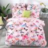 Butterfly Print Pink Bedding Set Duvet Quilt Cover+Sheet+Pillow Case Four-Piece