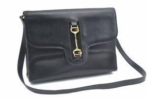 Authentic GUCCI Horsebit Leather Shoulder Cross Body Bag Black C8311