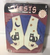 Dimensions Applique Iron On Felt Vests Kit Black Black Cats New 62091 Kitty Cat