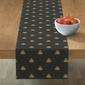Table Runner Gilt Bees Black Classic Bee Napoleon Cendre French Cotton Sateen