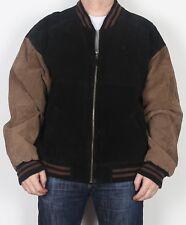 """Chaqueta de abrigo de la Universidad Varsity Gamuza Bomber Harrington XL 44"""" 46"""" Marrón años 90 (K3B)"""