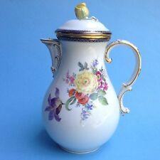 Meissen Porzellan Kaffeekanne Kaffe Kanne Blumenbuketts Blüten Pfeifferzeit ~24