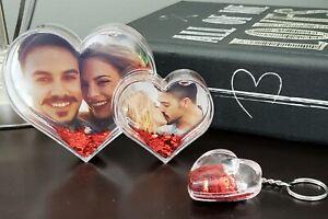 Birch & Bliss Liquid Glitter Acrylic Double Heart Picture Frame Gift Set
