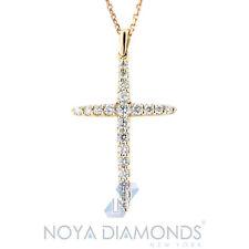 0.51 CARAT F VS2 NATURAL ROUND CUT DIAMOND CROSS PENDANT SET IN 18K ROSE GOLD