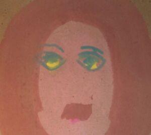 Sybil Gibson folk art painting  Outsider -Portrait Lady green eyes